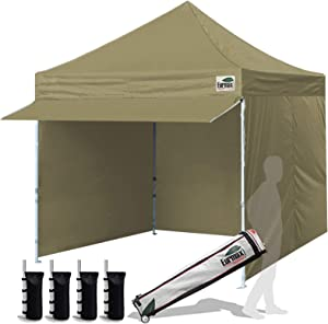 Eurmax 10 x 10 Pop up Canopy Commercial Tent Outdoor Party Canopies with 4 Removable Zippered Sidewalls and Roller Bag with 4 Canopy Sand Bags & 24 Squre Ft Extended Awning (Khaki)