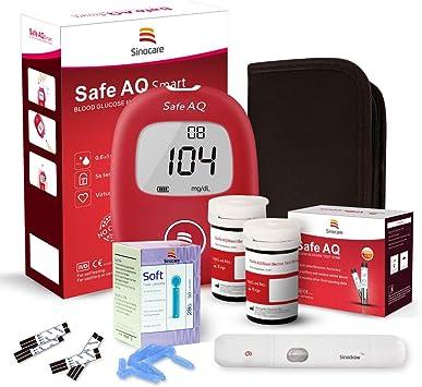 sinocare Medidor de glucosa en sangre/Glucosa en sangre kit de control de la diabetes kit con Codefree tiras x 50 y caja para diabéticos - en mg/dL (Safe AQ Smart): Amazon.es: Salud