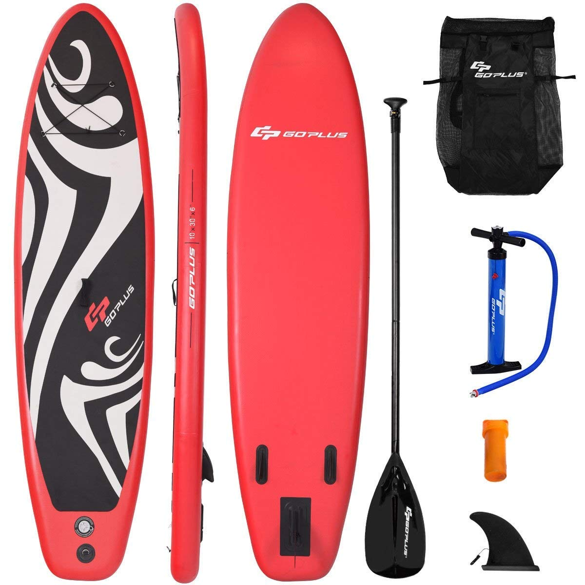 Goplus Inflatable Stand up Paddle Board Surfboard SUP Board with Adjustable Paddle Carry Bag Manual Pump Repair Kit Removable Fin for All Skill Levels, 6'' Thick (Red, 10FT)