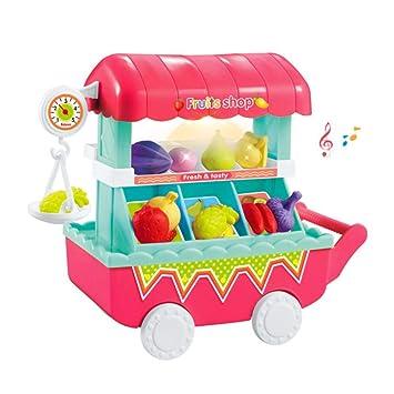leegoal Carrito de Frutas de Juguete, 28 Piezas/Set Mini Fruits Trolley Juguete con
