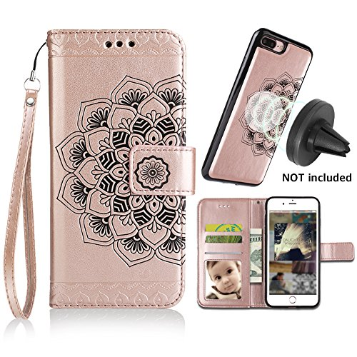 iPhone 8 Plus Case,iPhone 7 Plus Flip Embossed Leather Wallet Case with Protective Detachable Slim Case Fit Car Mount,CASEOWL Mandala Flower Design with Card Slot, Strap for iPhone 7/8 Plus[Rose Gold]