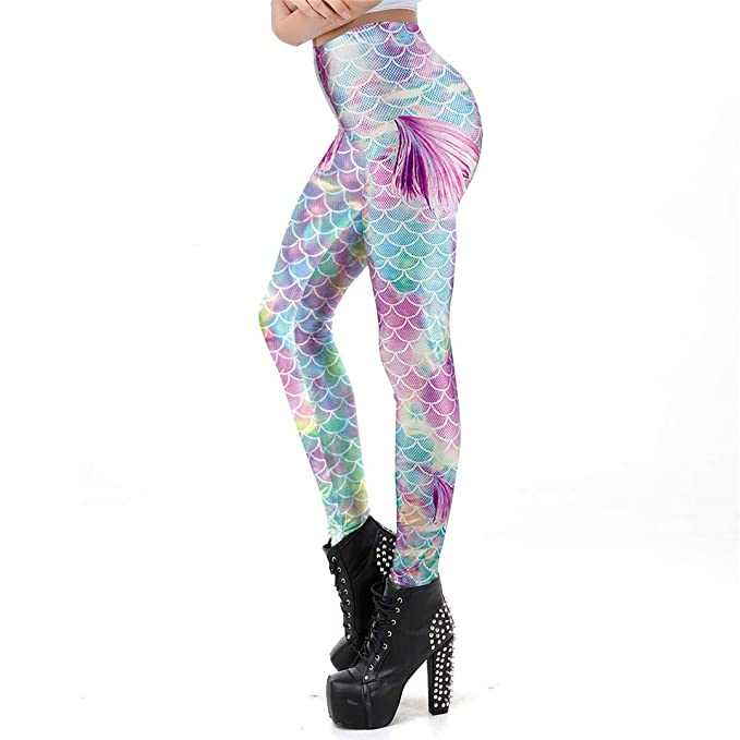 0110907d840f9f Summer Style Mermaid Scale Women Leggings 3D Printed Colorful Cute Gradient  Workout Leggins Sexy Ankle Pant
