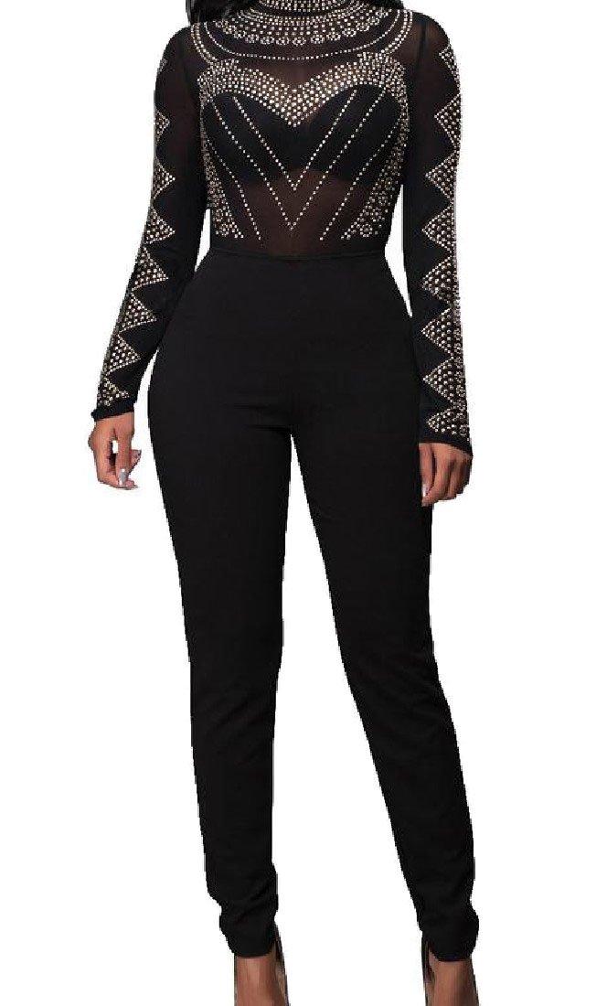 4e07b0bd2c11 Abetteric Women Pure Color Mesh Basic Bodycon Siamese Jumpsuits Playsuit