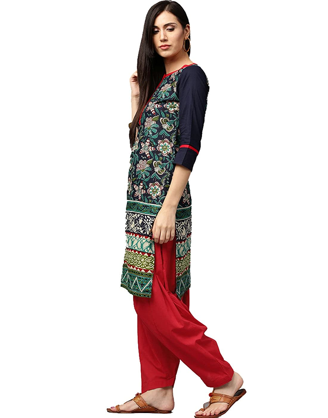 18293c2cc74 MATERIAL: Cotton FITTING TYPE & Print: Straight Fit & Floral Print SLEEVE  TYPE & NECK STYLE: 3/4th Sleeves & Round Neck DEPARTMENT: Women