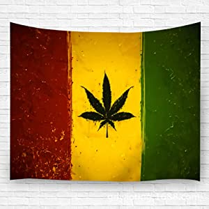 "YILINGER Tapestry Wall Hanging,Wall Decor Blanket Wall Carpet Gruge Styled Ganja Leaf On Rastafari Colored Flag for Dorm Bedroom 59.1""(H) X90.5(W)"