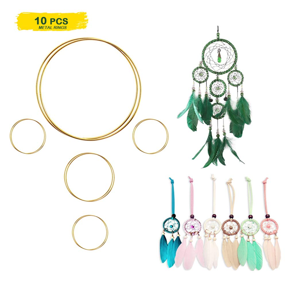 2 Inch 3 Inch 10 Pieces Metal Rings Hoops Macrame Ring for Dream Catchers and Crafts 6 Inch Gold