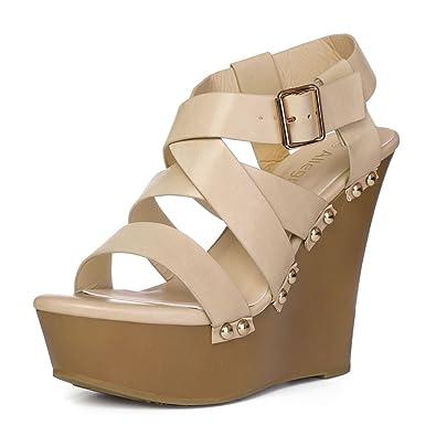 c21e36fc60a2 Allegra K Women s Strappy Wedge Beige Sandals - 6 M US