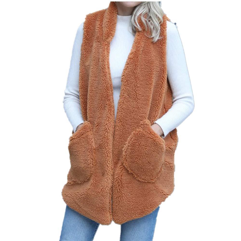Lazzboy Womens Gilet Waistcoat Jacket Fleece Flannel Plain Hooded Sleeveless Warm Vest Coat,UK 8-16