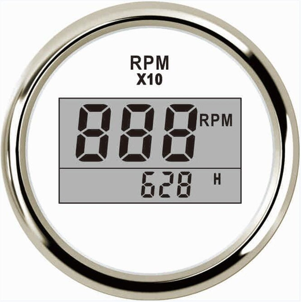 Kadir Koc 1pc Instrument Panel Tachometer Gauges Tuning 52mm 0-9900 Rev Counters 9-32vdc with Blue Backlight Digital LCD Hour Meters White