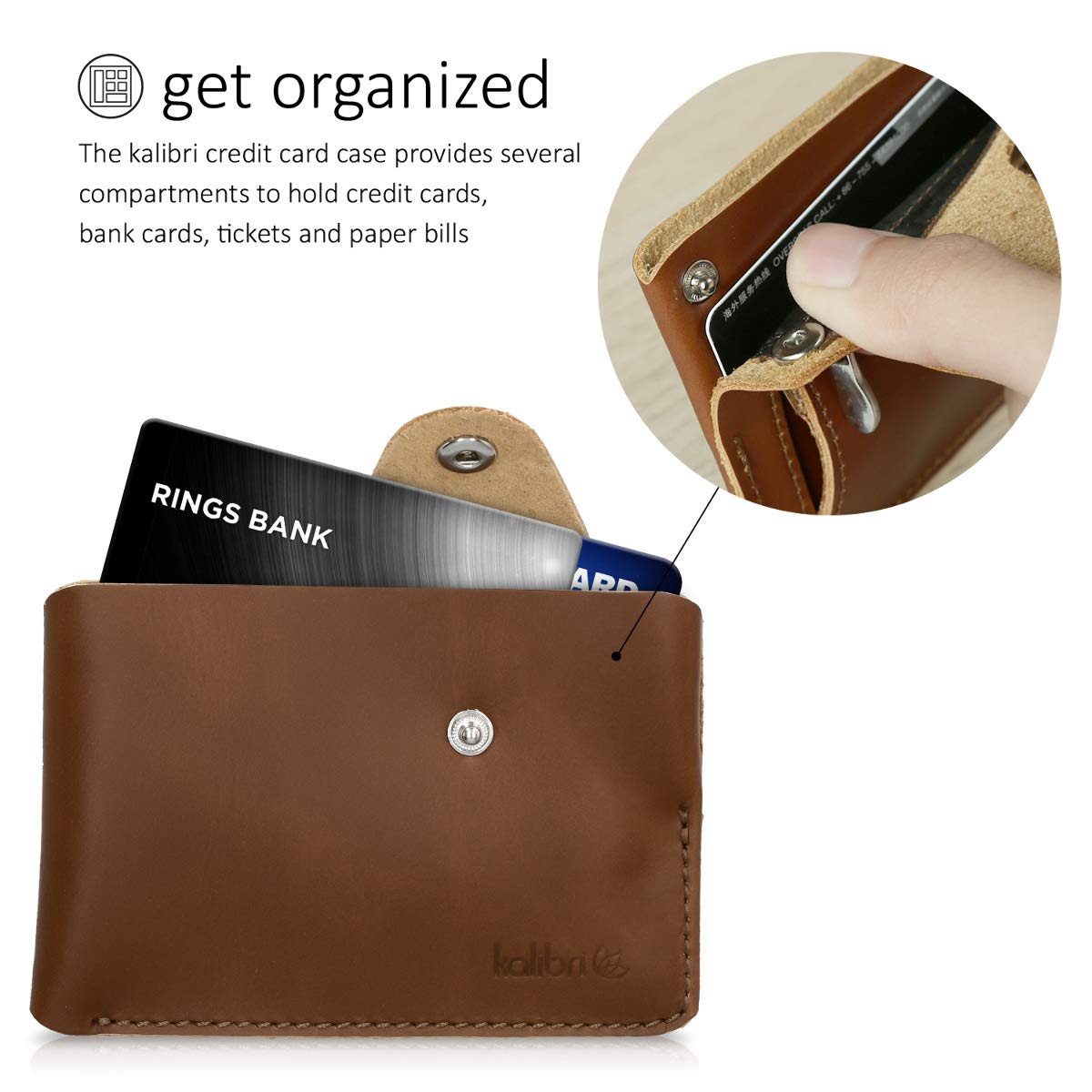 kalibri Leather Business Card Holder Real Leather Wallet Case for Business Cards Credit Cards Holds up to 60 Cards Black Bank Cards and More
