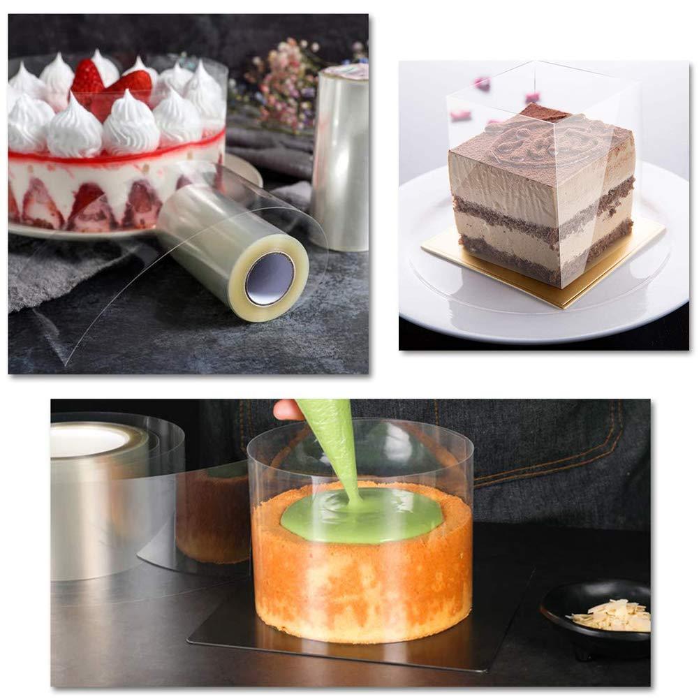 mousse YJShop 2 unidades de collares para tartas 10 cm x 10 m rollo de acetato para decoraci/ón de tartas de chocolate hornear reposter/ía tiras de acetato transparente