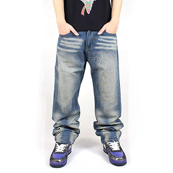 af95a17d Pizoff Mens Hip Hop Style Heavy Washed Street Wear Baggy Jeans Denim Pants:  Amazon.co.uk: Clothing