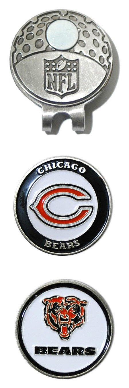 Team Golf NFL Chicago Bears Golf Cap Clip with 2 Removable Double-Sided Enamel Magnetic Ball Markers, Attaches Easily to Hats