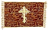 PrincessHousehold Christian Merchandise Jesus Rejoice Table Runner,Large Cross Applique,Bible Verses,Tassels,29'' x 16.5'',Made in USA