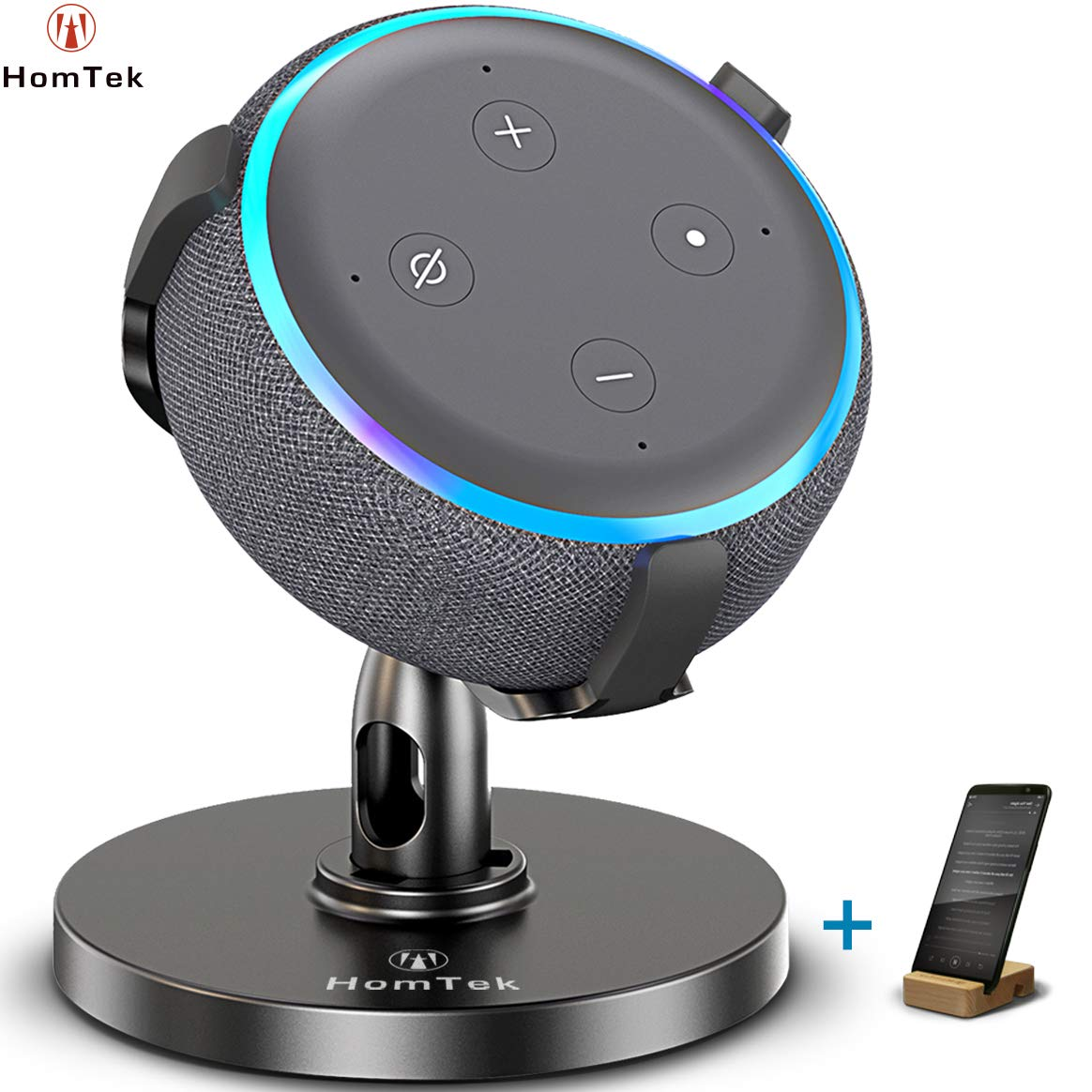 HomTek Echo Dot Stand, Table Holder for Echo dot 3rd Generation, 360° Adjustable,Black by HomTek