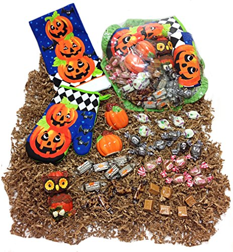 Autumn Halloween Gift Basket - Candy Assortment, Kitchen Towel, Potholder, Novelty Salt & Pepper Shakers & (Godiva Halloween)