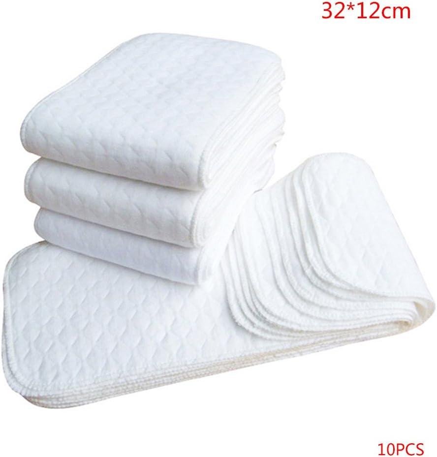 ELENXS 10PCS r/éutilisables Couches pour b/éb/és Couches Lavables Inserts 1 pi/èce 3 Couche Insert 100/% Coton Lavable Baby Care Products