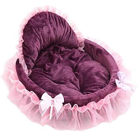 UKCOCO Arenero para Perros Princesa Gato Carino Encaje Casa del Animal doméstico Suave cálido Pet Tamaño