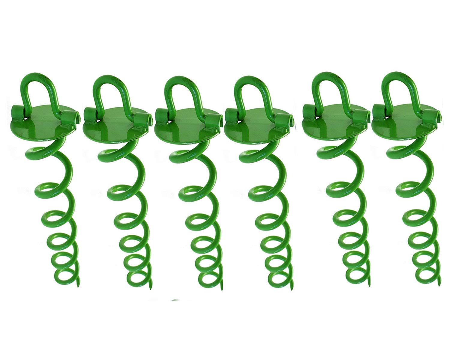Ashman 16 Inch Spiral Ground Anchor Green Color - Ideal for Securing Animals, Tents, Canopies, Sheds, Car Ports, Swing Sets (Pack of 6) by AshmanOnline
