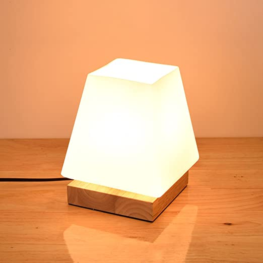 Lampe Chevet Petit Lampe De Table En Verre Simple En Bois