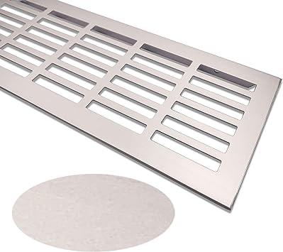 Rejilla de ventilaci/ón de aluminio rejilla de ventilaci/ón 100 x 250 mm rejilla de ventilaci/ón color: acero inoxidable cepillado rejilla de ventilaci/ón