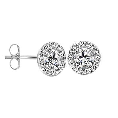 BB Jewels 14K White Gold Over 1.50Ct Round-Cut Diamond Screw Back Halo Stud Earrings For Women's 1kfgvM