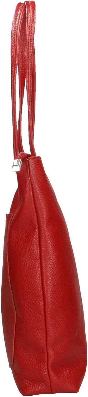 Roberta Rossi Carmen borsa a mano morbida shopping bag con tasca frontale Tote Vera pelle dollaro Made in Italy 34x34x7 cm 0,7 kg RR33ST46CGLNAT_P Red