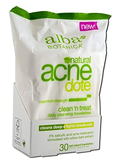 Alba Botanica - Natural ACNEdote Clean n Treat Towelettes - 30 Towelette(s) (pack of 4) Andalou Naturals, Skin Food Mask, Avo Cocoa, Age Defying, 1.7 oz (50 g)(Pack of 2)