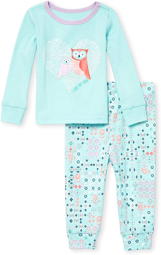 The Childrens Place Baby Girls 2 Pack Novelty Printed Variety Pajama Set