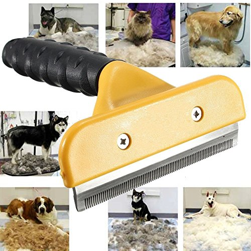 New Large 4 Inch Dog Cat Pet Hair Fur Shedding Trimmer Grooming Rake Comb Brush Tool for Dog Cat Long and Short Hair Fur Removal Yellow