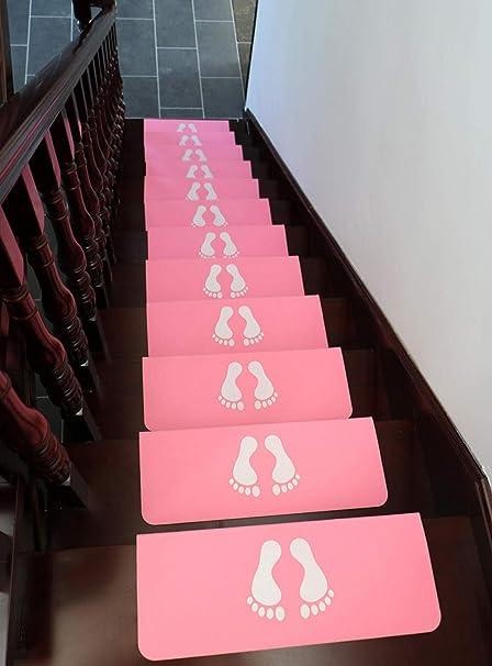 LANGPIG 15 Piezas de Alfombra de casa Nueva Alfombra de Escalera Luminosa Alfombra de Escalera de Madera Maciza Alfombra de Escalera Antideslizante para el hogar-Rosa_Los 55 * 20.5 * 5cm: Amazon.es: Hogar