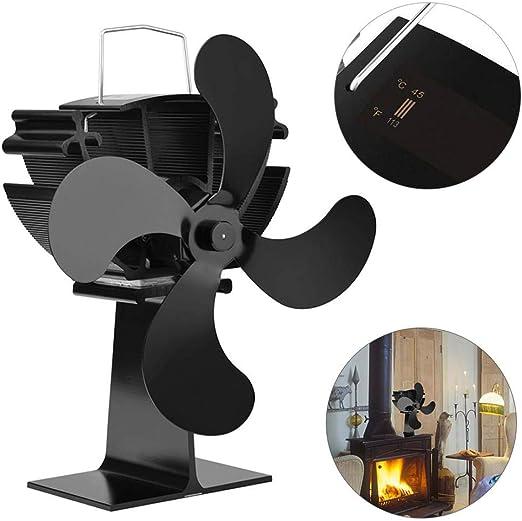 Ventilador de estufa de 4 palas alimentado por calor para leña/quemador de leña/ventilador de chimenea Alimentado por calor con monitoreo de temperatura,ventilador ...