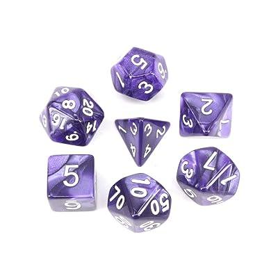 7 PCS Multi Echó A Un Lado Los Dados D4-D20 En Cuadritos Set Mini Acrílico Corta En Cuadritos Por TRPG Juegos Mazmorras Y Dragón (Púrpura): Juguetes y juegos