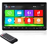 Pyle Bluetooth 7-Inch Car Stereo Headunit Receiver, Built-In Mic, Hands-Free Call Answering, Touch Screen, AM/FM Radio, CD/DVD Player, Double DIN Car Audio System (PLDNB78I)