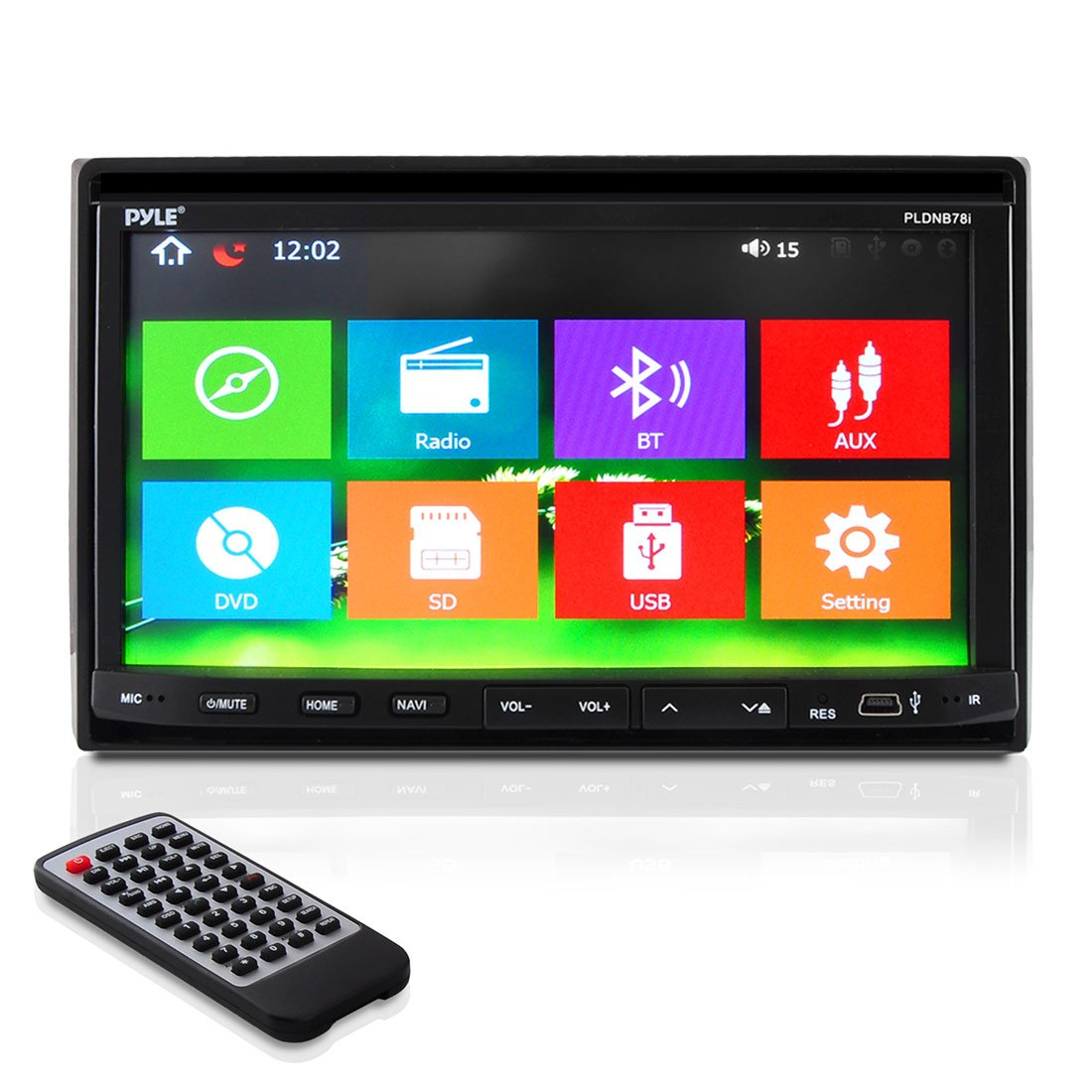 7'' Double Din Car Stereo - In Dash Receiver with GPS Navigation, Touchscreen, CD/DVD Player, Android System, LCD Monitor Screen, MP3, USB, SD, FM Bluetooth Compatible- Pyle PLDNB78I