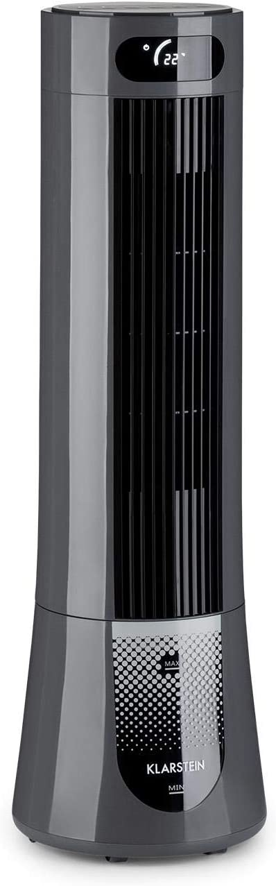 KLARSTEIN Skyscraper Frost - Enfriador de Aire en Torre, Caudal Aire 300 m³/h, Potencia 45 W, Depósito 7 L, 3 velocidades, 3 Modos Funcionamiento, Temporizador, Oscilación, Panel de Control, Negro