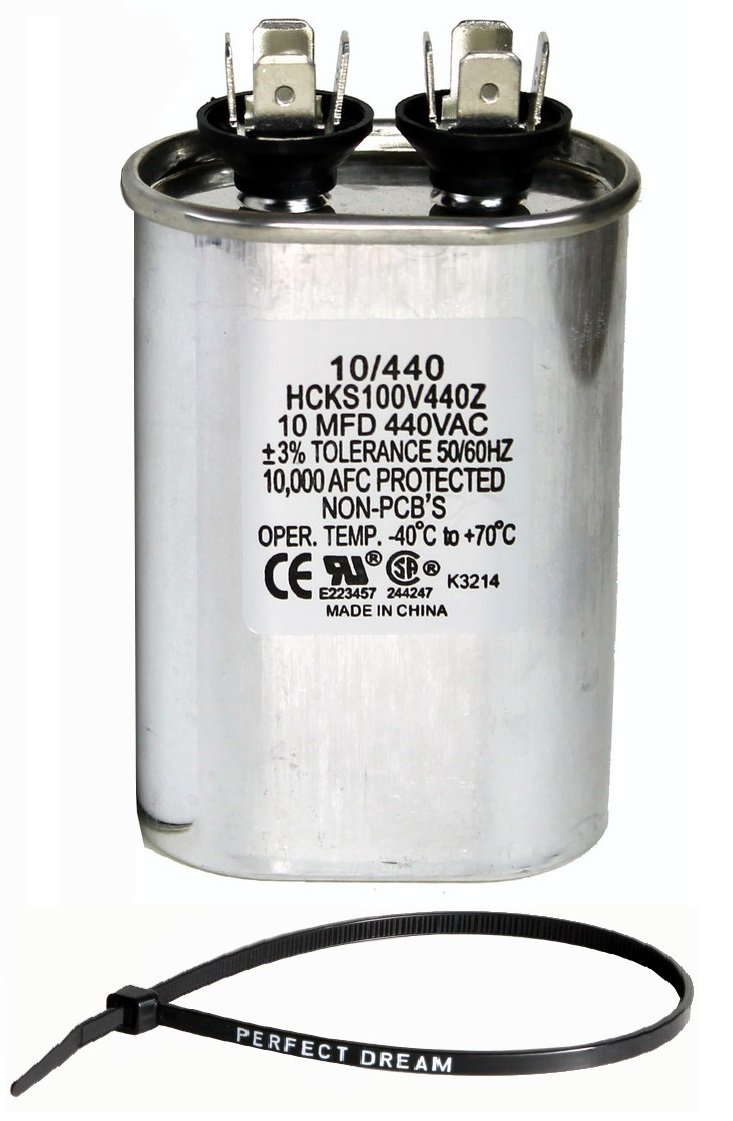 TradePro 10 uf MFD 370 or 440 Volt Fan Motor Run Oval Capacitor TP-CAP-10/440 Condenser for Air Handler Straight Cool/Heat Pump Air Conditioner by TradePro (Image #1)