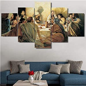 5 Pieces Kitchen Wall Decor Hd Modern Wall Art Canvas Prints Pictures Paintings for Dining Room Home DéCor Poster Artwork Jesus Disciples Last Supper Religion Christmas Decoration/Frame/150x80cm