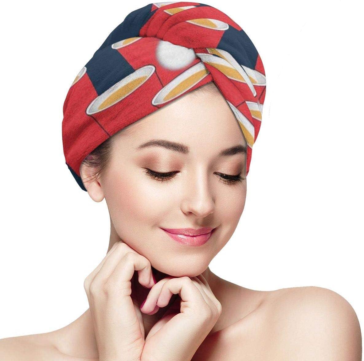 QHMY Pong Microfibra Toalla para el cabello Wraps Secado rápido Cabeza mágica Turbante Sombrero Gorros de ducha 28 x 11 pulgadas