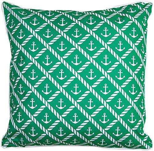 Island Girl Home IGH-P97 Sugarloaf Key - Anchor & Chevron Pillow, 20x20,Sea Green/White,20