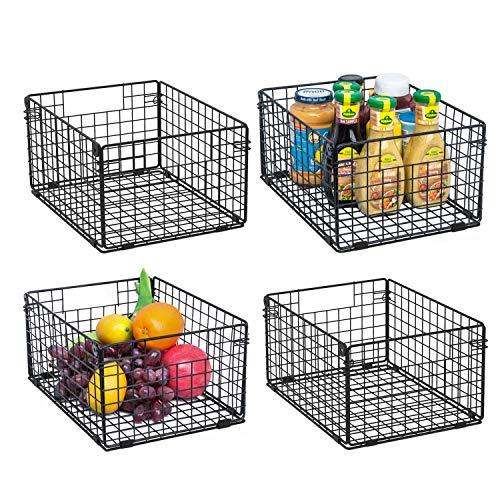 X-cosrack Foldable Cabinet Wall Mount Metal Wire Basket Organizer Pantry Basket with Handles – 4 Pack -12″ x 9″ X 6″, Food Storage Mesh Bin for Kitchen Bathroom Laundry Closet Garage Patent Design