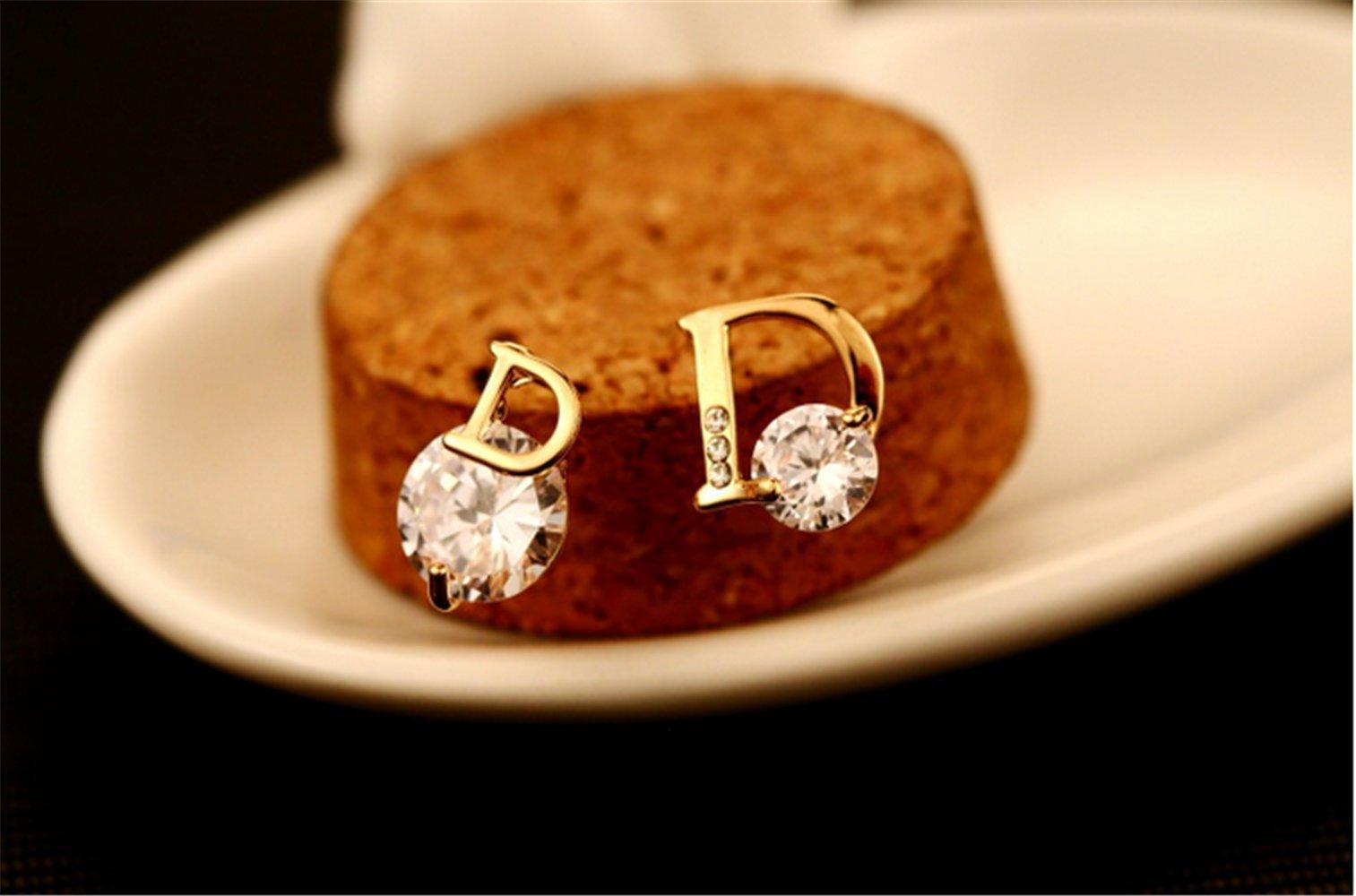 P.phoebus 18K Yellow Gold Plated Vintage White Swarovski Crystal Studs Earrings Rhinestones Dangle Charms Hoops For Women Girls (3)