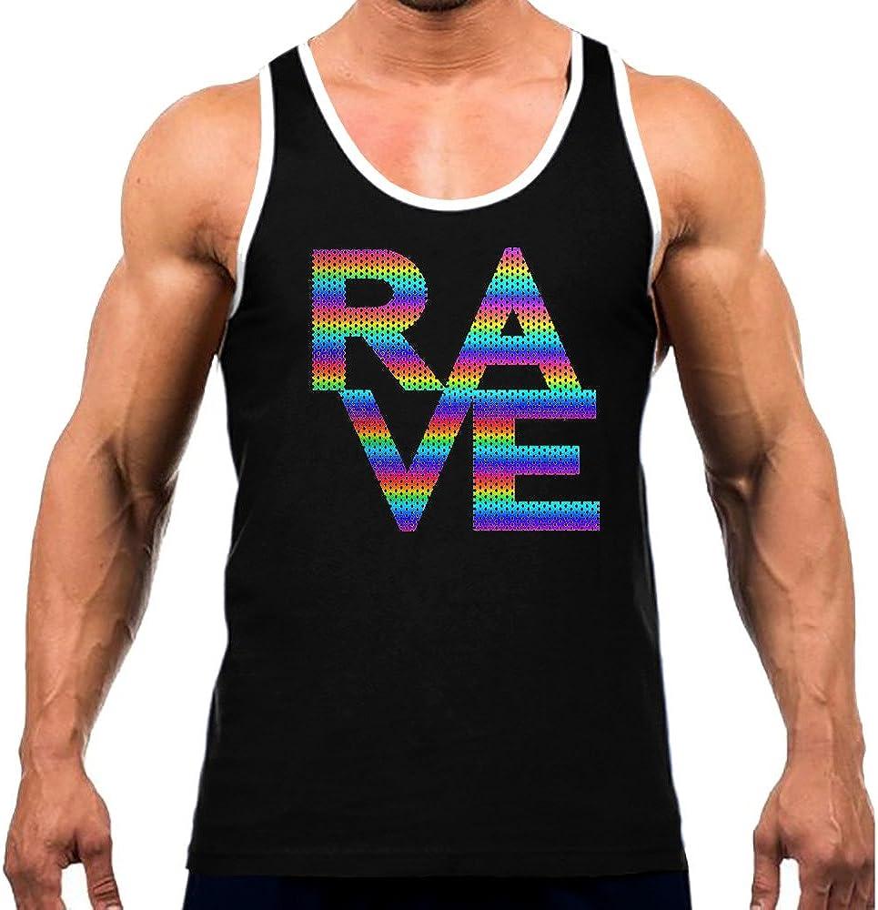 Mens Rainbow Foil Mesh Rave Tee White Trim Black Tank Top Black