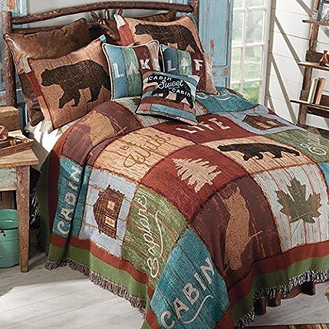 Bear Lodge Tapestry Bedspread - King - Lodge Bedroom Furniture
