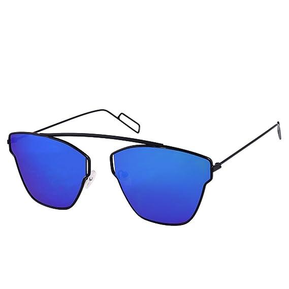 083596fab1 Dervin Blue Lens Black Frame Wayfarer Sunglasses for Men and Women  Amazon. in  Clothing   Accessories