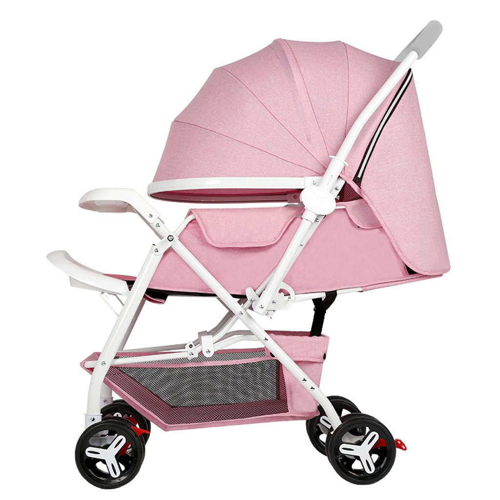 TLMY 赤ちゃんのベビーカーはリクライニング用の軽い折りたたみ式ベビーカー ベビー用トロリー (色 : Pink)  Pink B07GBMK1SR