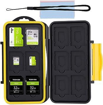 Caja de Protección, Almacenamiento Funda de Tarjeta de Memoria Estuche Impermeable para 12 SD y 12 Micro SD Tarjetas + 2 Super Fibra Tela: Amazon.es: Electrónica