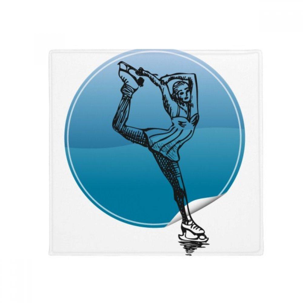 DIYthinker Winter Sport Female Skating Retro Illustration Anti-Slip Floor Pet Mat Square Home Kitchen Door 80Cm Gift