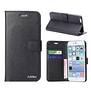 AiSMei®Lichee Pattern PU Leather Wallet Case For Apple iPhone 6 Plus 5.5'' Phone Case Smart Phone Case - Black