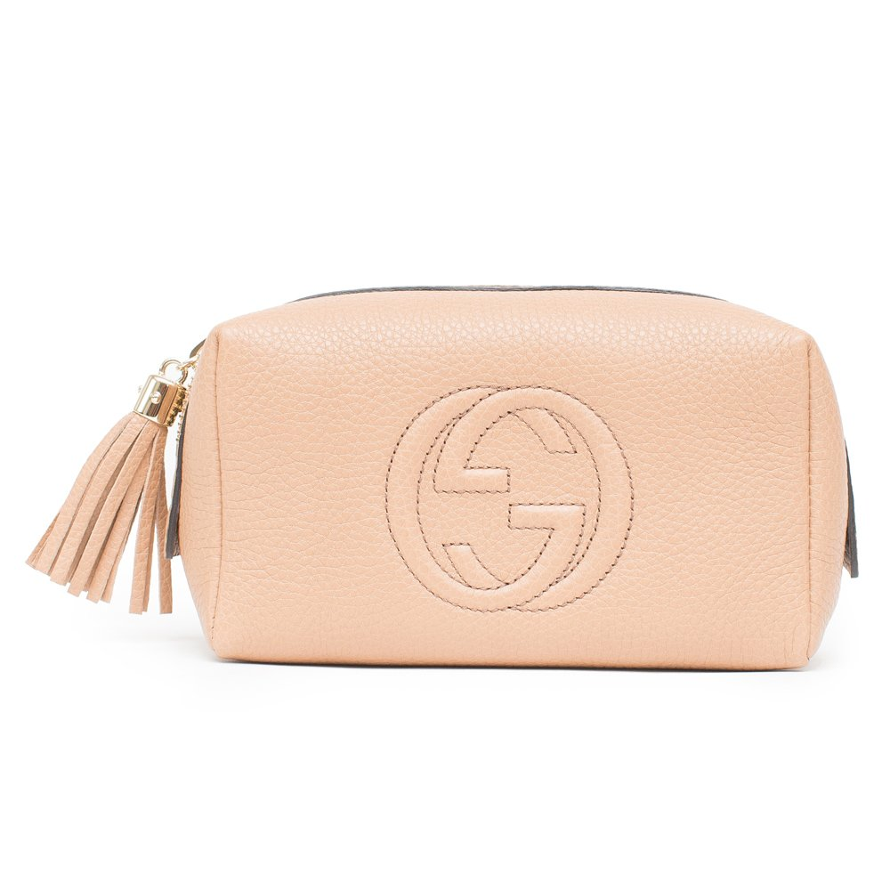 Gucci Original Soho Gg Camelia Camel Medium Cosmetic Zip Beige New